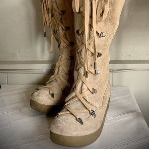 Tan Suede knee high lace up Boots